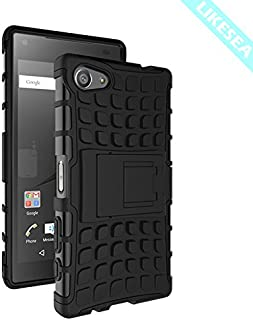 LIKESEA Stand Case for Sony Xperia Z5 Compact, Premium Double Protective Cover with Kickstand, Shock-Absorption and Anti-Scratch, Black