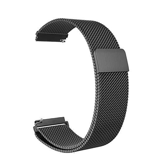GO-AHEAD Bracelet Montre for Garmin VivoActive 3 Band 20 mm Quick Release Boucle Montre en Acier Inoxydable Bracelet Vivomove HR/Forerunner 645 Musique Groupes (Color : Black, Size : 20mm Width)