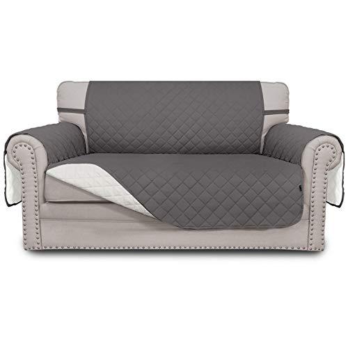 Easy-Going Funda de sofá reversible para sofá cama resistente al agua, protector de muebles con correas elásticas para mascotas, niños, perros, gatos y gatos, color gris y marfil