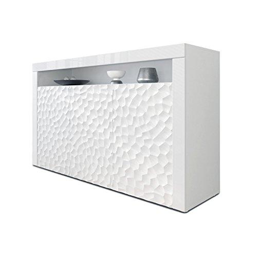 Sideboard Kommode Valencia, Korpus in Weiß matt/Fronten in Weiß Hochglanz Calypso mit 3D Struktur und Blenden in Weiß Hochglanz