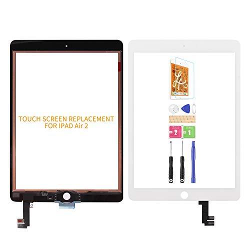 Ersatz-Touchscreen Kompatibel für iPad Air 2 A1566 A1567, Digitizer-Glas, Montageset, inkl. gehärteter Folie, Kleber und Werkzeuge, kein LCD-Bildschirm, Weiß
