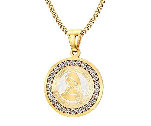 Joielavie - Collar y colgante color dorado medalla de la Virgen María Madre de Jesús, con circonitas, joyas fantasía brillantes, regalo para mujer