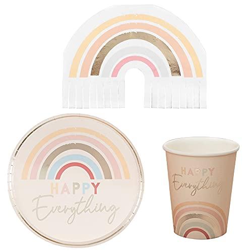 Miss Lovely Juego de decoración de mesa de 32 piezas, arco iris, platos de fiesta, vasos desechables, servilletas de decoración de cumpleaños para niños y adultos, fiesta temática CSD y unicornio