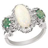 925 Sterling Silver Natural Opal and Emerald Womens Trilogy Ring - Size 9.75