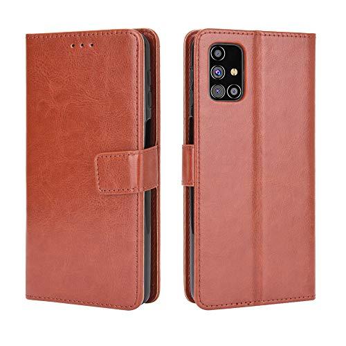 Lederhülle für Samsung Galaxy M31s Hülle, Flip Hülle Schutzhülle Handy mit Kartenfach Stand & Magnet Funktion als Brieftasche, Tasche Cover Etui Handyhülle für Samsung Galaxy M31s, Brown