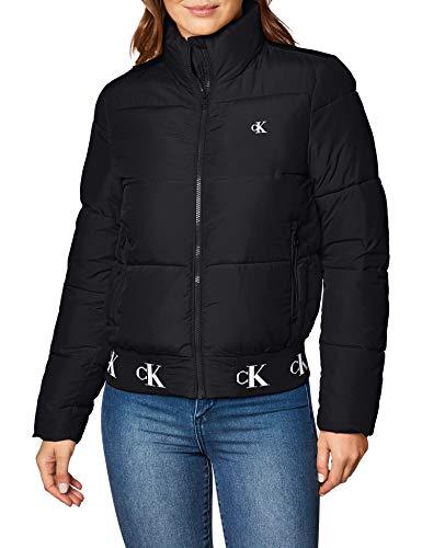 Calvin Klein Jeans Damen Repeated Hem Logo Puffer Jacke, Ck Black, L