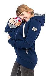 Viva la Mama Schwangerschaftsmode Damenjacke mit Baby Tragejacke für Baby Mamajacke Baumwolle Kapuzenjacke - Elliot Marine blau gestreift - L