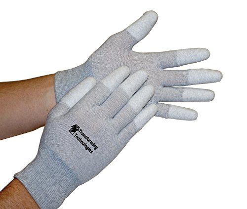 Transforming Technologies GL4503T Coated Finger Tip ESD Glove, Medium, 12-Pack