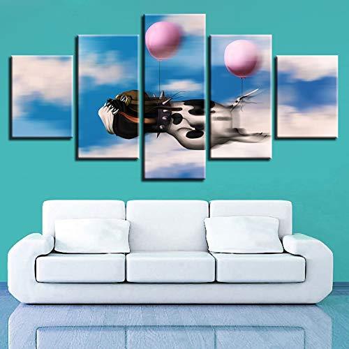 Foto's afdrukken Kunst 5 stuks Dier Hond en ballonnen Landschap Modulaire canvas schilderijen Woonkamer Muurdecoratie Kunstwerk Posters