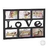 Relaxdays Bilderrahmen Love, Collage für 6 Fotos 10x15 cm, Galerierahmen zum Aufhängen, HBT: 33 x...