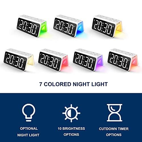 AUROULA Digital Bedside Alarm Clock, with Night Lights, Dual Alarm, Large Display, FM Radio, 6 Natural Sleep Aid Sounds