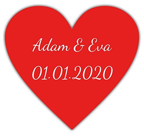 101x individuelle Herzen Hochzeitsaufkleber mit Namen, 2 cm hoch, personalisierte Sticker zur Hochzeit