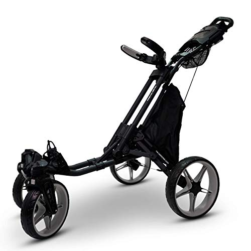 CaddyTek Qaud Tour Swivel 360 4-Rad Golf Push Trolley Golfcaddy Neu Modell 2021 (schwarz-grau)