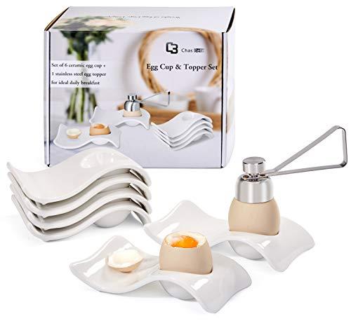 Chas Bete Eierbecher für hart und weichgekochten Eiern Keramikhalter mit Löffelständer Dekoration für Frühstück und Brunch, 6er-Set, Weißes Porzellan