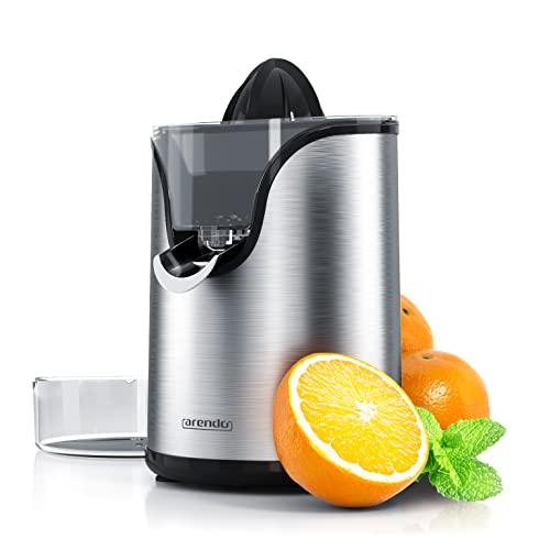 Arendo - Edelstahl Zitruspresse elektrisch - 100 Watt - Zitronenpresse Orangenpresse Limettenpresse - Start-Stopp-Automatik - großer und Kleiner Presskegelaufsatz - Siebeinsatz - BPA frei