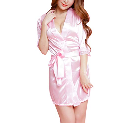 Damen Morgenmantel aus Baumwolle 3/4 Ärmeln Bademantel Nachtwäsche Kimono Saunamantel mit Tiefer V-Ausschnitt Schlafanzug