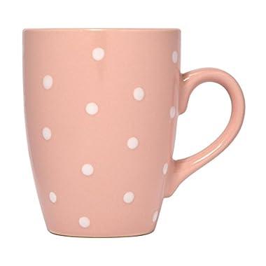 Polka Dot Mug by Govinda Crafts, Ceramic Coffee Cup 10oz, Cute Mugs for Women and Men, Colored Mugs (Pink)