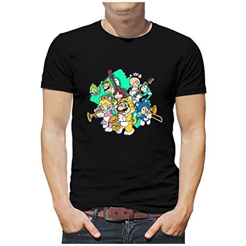 Herren Baumwoll T-Shirt Spielen von Musik Mary Family 3D Grafik gedruckt Verschiedene Typen Vintage-T-Shirt für Ehefrau Pilz Black 3XL