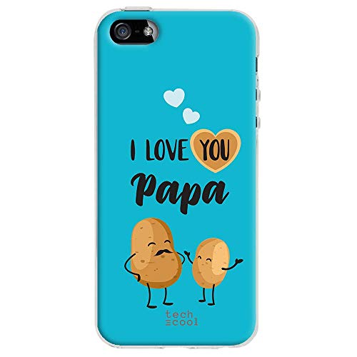 Funnytech Cover iPhone 5 / 5S Custodia in Silicone (TPU) per iPhone 5 / 5S / SE [Design Esclusivo, Stampa ad Alta Definizione] [Frase Humor I Love You Papa Fondo Azul]