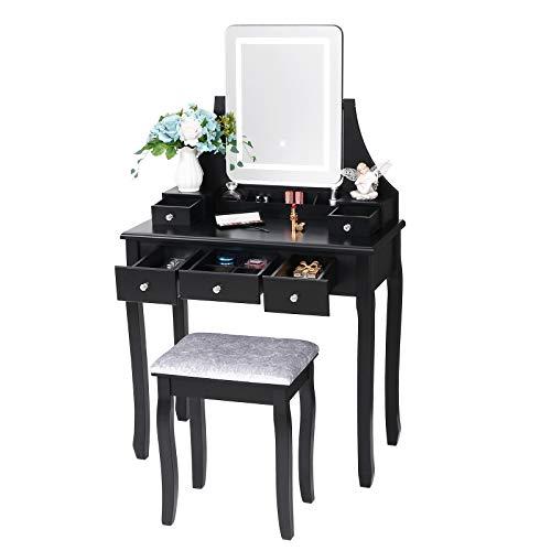 ANWBROAD Juego de Tocador LED Escritorio Grande de Maquillaje con Taburete Almohadillas Espejo sin Marco 5 cajones y 2 separadores Organizador extraíble Almacenamiento de Joyas para Negro BDT01B