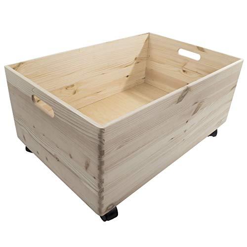 Caisse de rangement en bois à 4 étages avec roues et poignées, Bois dense, naturel, 1 Tier
