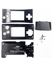 アルミハウジングシェルケースメッキブラック交換、for Nintendo 任天堂ニンテンドーゲームボーイミクロGBMコンソール用、フェースプレート+上部および下部シェル+バッテリー背面カバー+ネジスペアパーツ