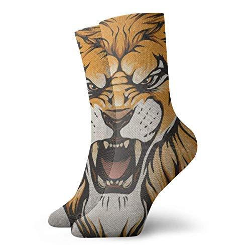 Calcetines deportivos unisex clásicos, 30 cm, regalo de león rugiente, con colmillos puntiagudos, rey de animal grimace en el dolor, unisex