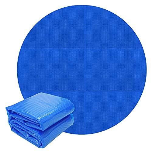 ECD Germany Cubierta Solar Redonda Ø 5m 140 µm Azul para Piscina Lámina Isotérmica de Cojín de Aire de PE Manta Térmica Lona para un Calentamiento de Agua más rápido y Evitar la Evaporación