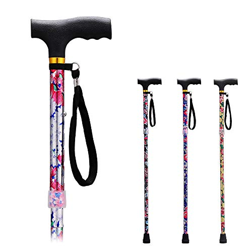 Folding Walking Canes for Women Cane/Elderly Men Lightweight Aluminum Collapsible Cane Adjustable Walking Stick with Ergonomic Handle and Wrist Strap