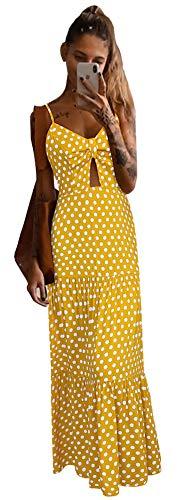Spaghetti Strap Dresses for Women Casual Summer, Women's Boho Polka Dot Sleeveless V Neck Bowknot Howllow Out Flowy Ruffle Swing Beach Maxi Party Dress Casual Long Dress Yellow S