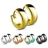 Treuheld® | Klassische, eckige Creolen/Ohrringe aus medizinischem Edelstahl | 4mm x 12mm | Gold | Klappcreolen für Damen und Herren | Set Paar