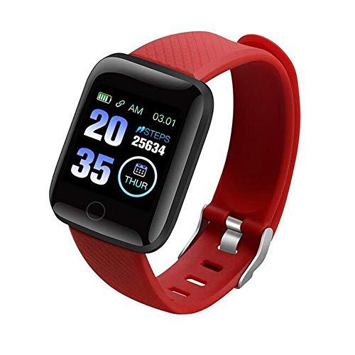 Neubula Reloj inteligente para hombre y mujer, impermeable, pulsera inteligente con monitor de frecuencia cardiaca, seguimiento de movimiento, distancia, recordatorio de llamadas y SMS,rojo