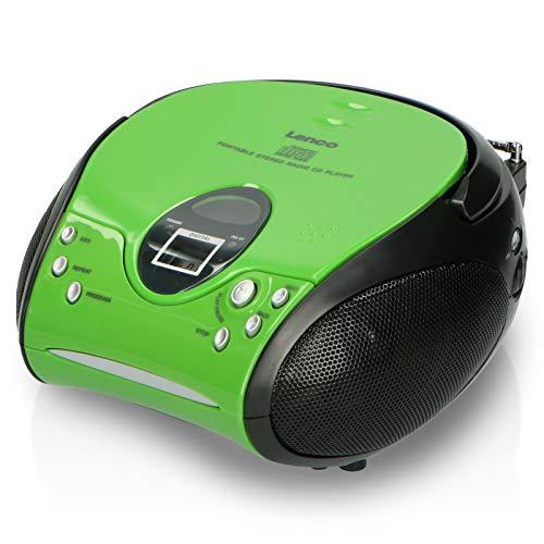 Lenco Radio CD-Player SCD-24 tragbares Stereo UKW-Radio mit CD-Player und Teleskopantenne in grün/schwarz