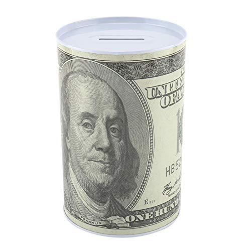 Caja de hojalata para ahorro de dinero, caja de hojalata para ahorro de dinero, tarro de banco para ahorro de dinero, caja de lata de dinero con billete de banco impreso para ahorrar efectivo(2312-03)
