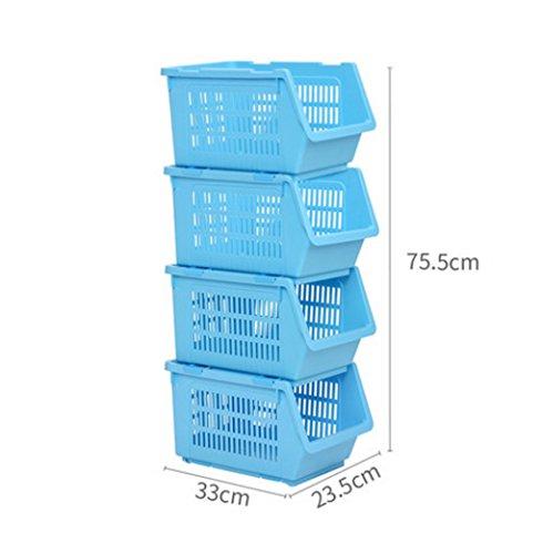 Kelly' Harvest House 4 rangées de bacs de Rangement en Plastique pour Support de Rangement empilable pour Panier empilable (Couleur : Bleu)