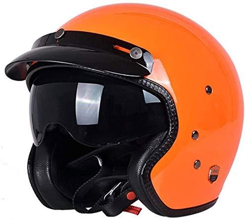 EBAYIN Cascos Half-Helmet Cascos Abiertos Casco Motocicleta 3/4 con Certificado Dot/ECE Casco Piloto Helicóptero Crucero con Gafas Casco Protección para Ciclomotor para Adultos