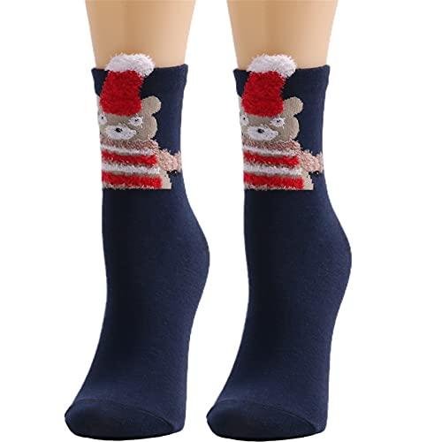 HUBA Calcetines de Navidad para mujer, calcetines de tenis, divertidos calcetines deportivos, calcetines de lana, calcetines de casa, calcetines cálidos de invierno para mujer, b, Talla única