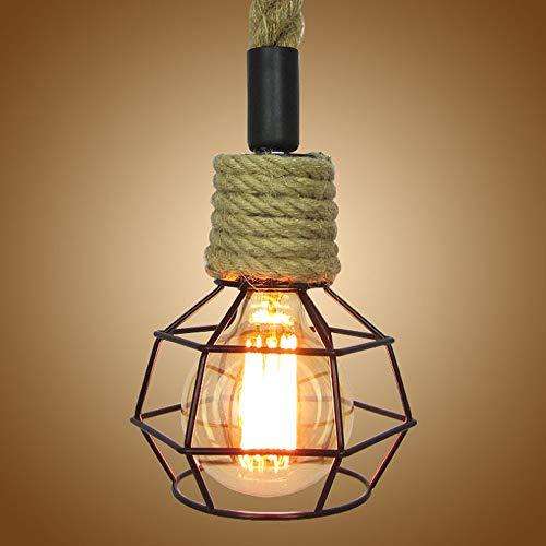Luz colgante moderna Moderna vendimia industrial cáñamo cuerda colgante ligero accesorio antiguo colgando lámpara de techo lámpara de techo lámpara de araña para cocina comedor dormitorio con el titul