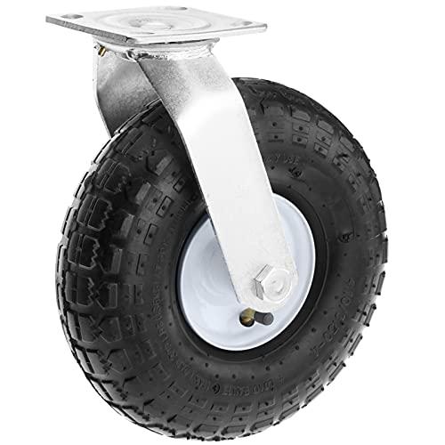 PrimeMatik - Rueda neumática giratoria de 136 Kg 10x3,5' 254x89 mm para carros y Plataformas de Transporte