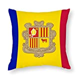 Andorra Flag Cotton Throw Pillow Covers Case Cushion Pillowcase with Hidden Zipper Closure for Sofa Bench Bed Home Decor 24'x24'