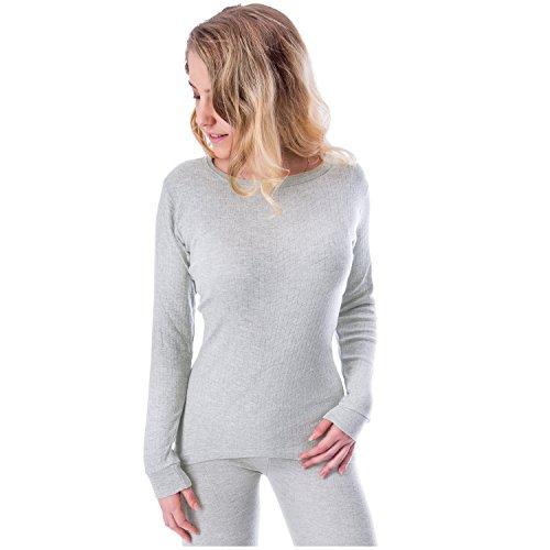 Black Snake Damen Thermounterhemd mit Innenfleece Langarm Unterhemd Grau XL