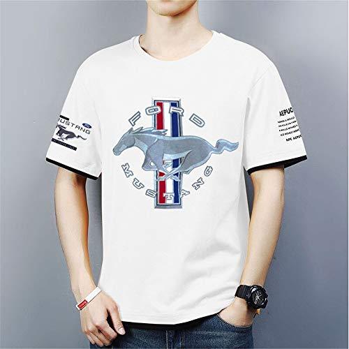 Hombre Camisetas de Manga Corta Sport tee Tops - 3D Mustang Casual Unisexo Camisas de Golf de Tshirts Trabaja Deportes Camiseta - Regalos para Adolescentes,Blanco,XL