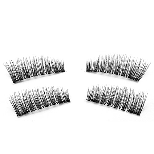TOOGOO 1 paire / 4pcs Faux cils magnetiques a double aimant 3D longs naturels Extension de cils doux de maquillage de yeux Outils de maquillage KS02-S