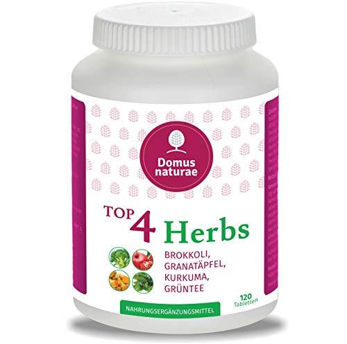 TOP4 Herbs BROKKOLI, GRANATÄPFEL, KURKUMA (Curcuma), GRÜNTEE | 120 Hochdosierte Tabletten ( keine Kapseln ) |100% Vegan Polyphenol Nahrungsergänzung | Naturprodukt Extract