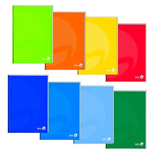 BM BeMore Cartonato Color 0112278, Maxi Quaderno Cartonato A4, Rigatura 10mm, Quadretti 1cm per 1° Elementare, Copertina Cartonata Pesante, Carta 80 g/mq, Colori Assortiti, Confezione 5 Pezzi