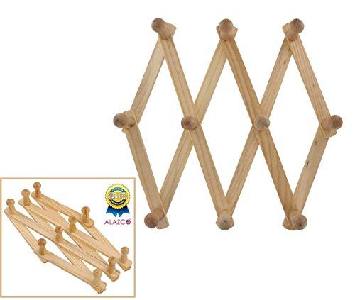 ALAZCO 1 Accordion Style Wood Expandable Rack Hat, Cap, Belt, Umbrella Coffee Mug Wall Wooden Pegs