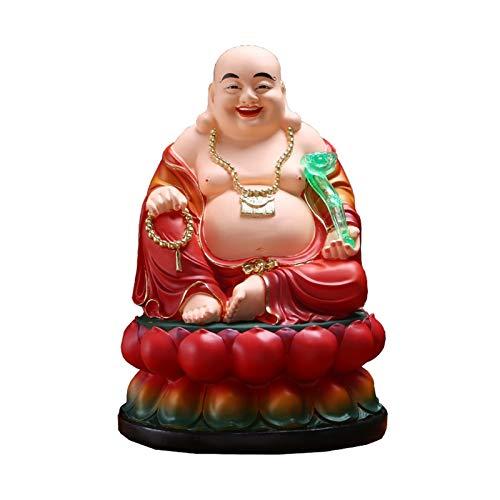 NYKK Estatuas de Feng Shui Resina Buda Estatua Decoración Ropa roja Riendo Buda Big Batdha Buda Afortunado Decoración hogar o Oficina Mejor Regalo para la Apertura de Negocios Estatua de r