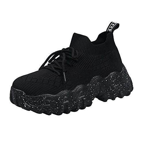 Zapatillas de deporte de plataforma de punto transpirable elástico casual suela gruesa zapatos negro, Black, 39 EU