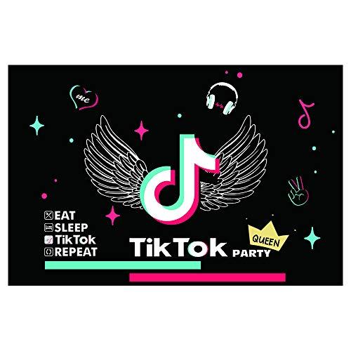 Fruor Tik Tok Decoración para Fiesta de Cumpleaños, 180cm x 120cm Tik Tok Telón De Fondo para Fotografía para Fiesta Musical de Karaoke, Banner de Cumpleaños para Niños o Niñas, Banners de Vinilo