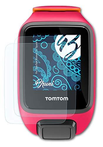 Bruni Película Protectora Compatible con Tomtom Runner 3 / Spark 3 Protector Película, Claro Lámina Protectora (2X)